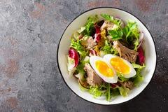 在碗的金枪鱼色拉 bufala食物意大利地中海无盐干酪 与罐装金枪鱼的新鲜的沙拉 健康饮食的食物 库存图片