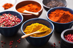 在碗的香料:咖喱,桃红色和黑胡椒,辣椒粉粉末 图库摄影