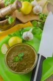 在碗的香菜薄荷的酸辣调味品 免版税图库摄影