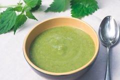 在碗的绿色荨麻汤 免版税库存照片