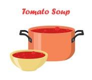 在碗,盘的蕃茄汤 与菜的热的膳食,肉 库存照片