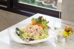 在碗(开胃菜食物)的新鲜的金枪鱼色拉 图库摄影