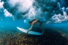 在碰撞的桶波浪下的有吸引力的冲浪者妇女下潜 图库摄影