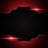 在碳凯夫拉尔纹理样式技术的抽象金属黑红色框架炫耀创新概念背景 图库摄影