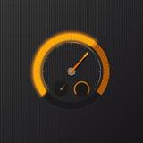 在碳背景的橙色车速表 向量例证