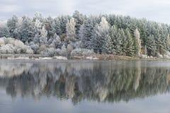 在磨房池塘的10月霜 Bugrovo,普希金山,俄罗斯村庄  免版税图库摄影