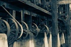 在磨房的老机制 库存照片