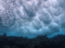 在礁石的碎波 免版税库存照片
