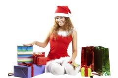 在礼品女孩附近许多立场 免版税库存图片