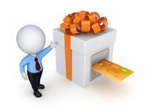 在礼物盒插入的信用卡。 免版税库存图片