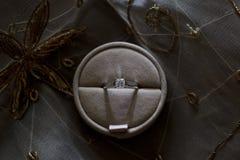 在礼物盒的定婚戒指 免版税库存照片