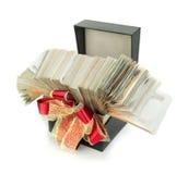 在礼物盒的泰国钞票1000泰铢事务的,银行业务, bo 库存照片