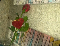 在礼物金丝带的长的茎绘的花 库存照片