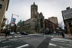 在社会小山的历史的砖瓦房在费城, Pennsy 库存图片
