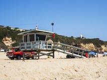 在祖马海滩的救生员塔, 2017年8月13日, -祖马海滩,洛杉矶, LA,加利福尼亚,加州 库存图片