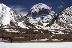 在神圣的冈仁波齐峰的北部面孔 免版税库存图片