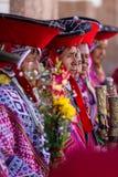 在神圣的谷的盖丘亚族人的长辈 库存图片