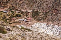 在神圣的谷,秘鲁附近盐溶领域在库斯科省 库存照片