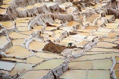 在神圣的谷,秘鲁附近盐溶领域在库斯科省 免版税库存照片