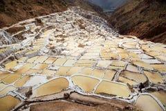 在神圣的谷,秘鲁附近盐溶领域在库斯科省 库存图片