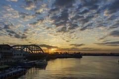 在神奈川肯附近的美好的都市风景 库存照片