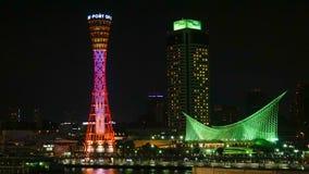 在神户口岸的夜视图 免版税库存照片
