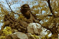 在神田Myojin寺庙的一个Komainu喷泉在东京,日本 库存照片