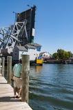 在神秘主义者,康涅狄格的偶象吊桥 ,美国 免版税图库摄影
