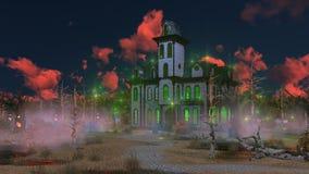 在神秘的日落的意想不到的可怕豪宅 库存照片
