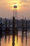 在神秘的海口,康涅狄格的日出 免版税库存图片