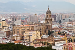 在神色的马拉加西班牙大教堂 图库摄影