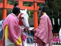在神道的信徒的仪式期间的美丽的白马在一座寺庙在日本 库存照片