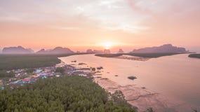 在禁令Samchong的航拍 免版税图库摄影