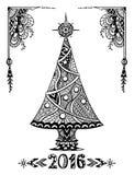 在禅宗乱画样式黑色的圣诞树在白色 图库摄影