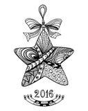 在禅宗乱画样式黑色的圣诞节星在白色 免版税库存图片