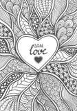 在禅宗乱画样式黑色的手工制造抽象心脏框架在白色 免版税库存照片