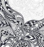 在禅宗缠结禅宗乱画样式黑色的抽象背景在白色 库存例证