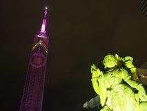 在福冈塔的华伦泰照明 免版税库存照片