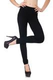 在秀丽时尚概念的黑绑腿 免版税库存图片