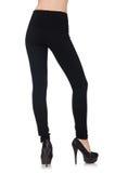 在秀丽时尚概念的黑绑腿 图库摄影
