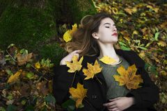 在秋叶中间的年轻美丽的女孩在背景中 库存照片