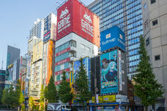 在秋叶原地区的大厦在东京,日本 免版税库存图片