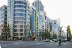 在秋叶原地区的大厦在东京,日本 库存照片