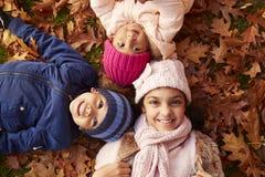 在秋叶的三个孩子顶上的画象  免版税库存图片