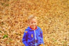 在秋叶的愉快的小男孩乐趣 免版税库存图片