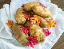 在秋叶盖的静物画土豆 免版税库存照片