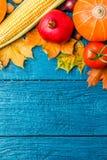 在秋叶顶部的照片,石榴,菜 免版税库存照片
