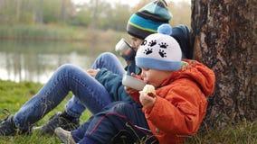 在秋天公园孩子坐草坪和饮料热的茶,在新鲜空气的步行 免版税图库摄影