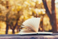 在秋天公园打开在一个长木凳的书 读书,教育和回到学校概念 免版税库存图片
