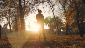 在秋天公园照顾盘旋一个小儿子 秋天系列愉快的公园 在自然概念的愉快的家庭在慢 股票视频